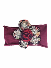 Mimi & Maggie Mountain Flowers Collection Earth Flower Burgundy Headband