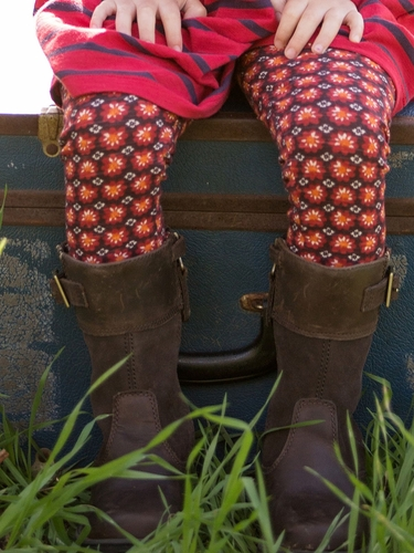 Mimi & Maggie Mountain Flowers Collection Red Stamp Leggings
