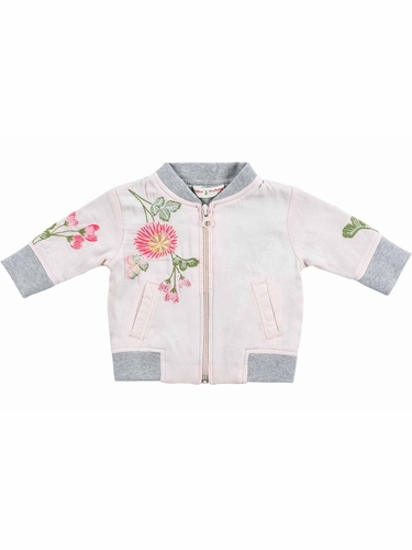 Mimi & Maggie Tranquil Garden Floral Embroidered Silky Jacket