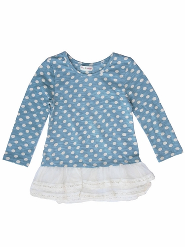Mimi & Maggie Whispering Forest Collection Blue Lace Bottom Dot Tunic