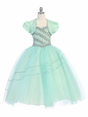 Mint Beaded Ball Gown w/ Bolero