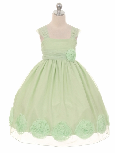 Mint Big Flower Mesh Dress