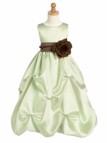 Mint Blossom Sleeveless Shantung Organza Dress w/Detachable Sash & Flower