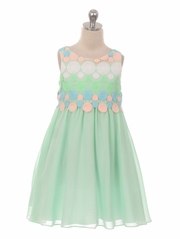 Mint Circle Embroidered Chiffon Dress