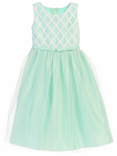Mint Cross Hatch Satin w/ Tulle Dress
