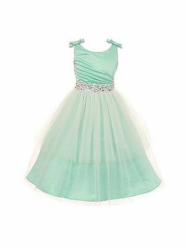 Mint Double Bow Shoulder Jewel Sash Tulle Dress