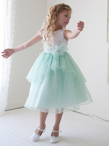 Mint Double Layered Organza Dress w/ Satin Bodice