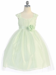 Mint Empire Waist Tulle Dress w/ Poly Silk Sleeve & Sash