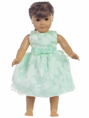 "Mint Floral Burnout Organza 18"" Doll Dress"