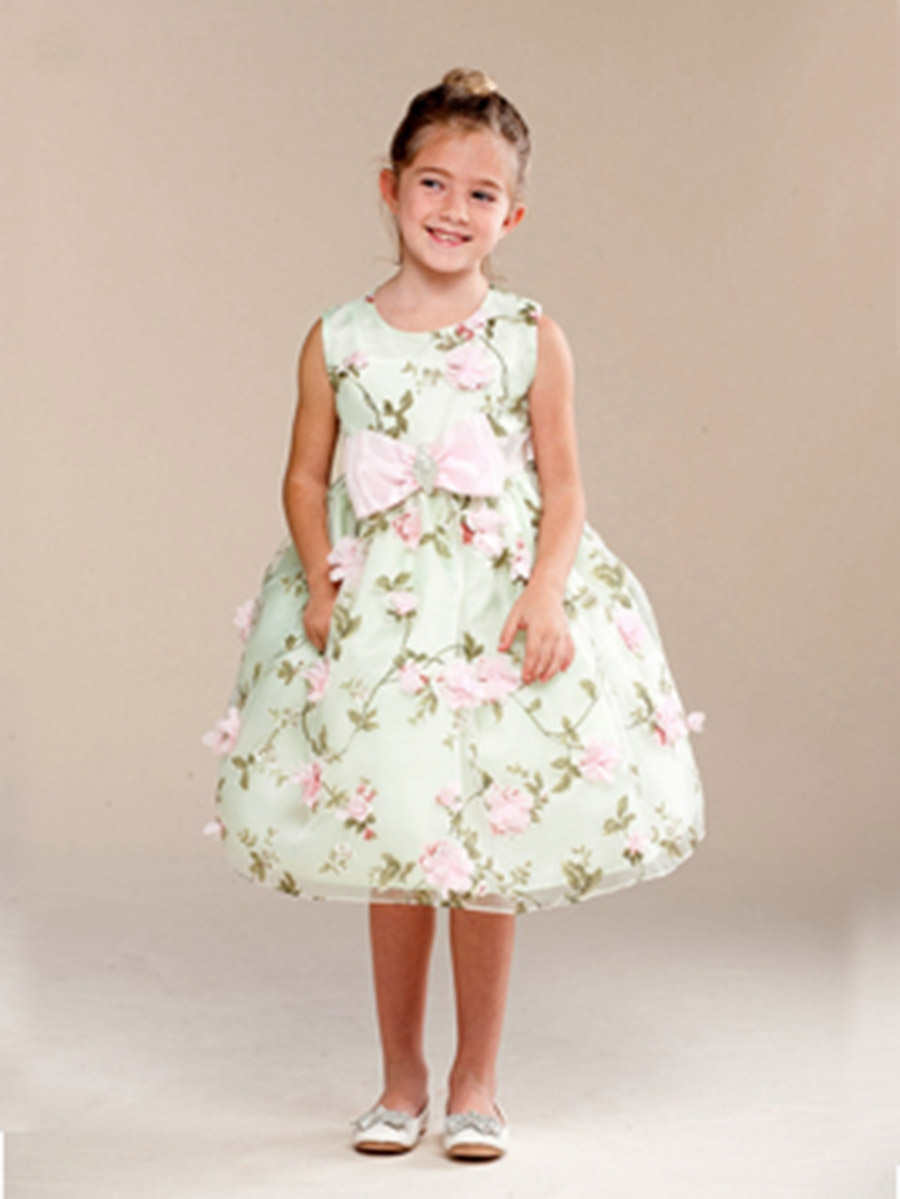 Mint Floral Print Bow Brooch Flower Girl Dress