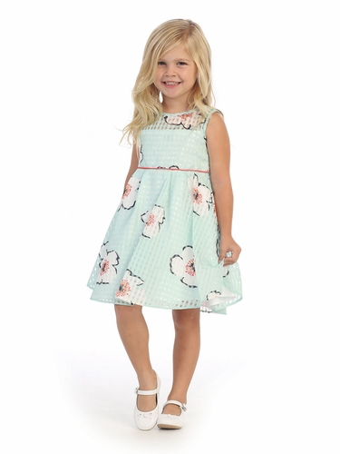 CLEARANCE - Mint Floral Printed Organza Dress w/ Illusion Neckline