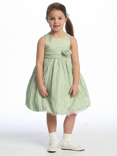 Mint Flower Girl Dress - Taffeta Crinkled Skirt