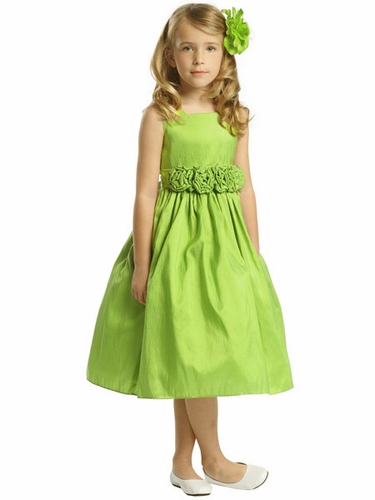 Mint Flower Girl Dress - Taffeta Dress w/ Flower Cummerbund