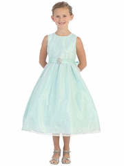 Mint Glitter Tulle Overlay Dress