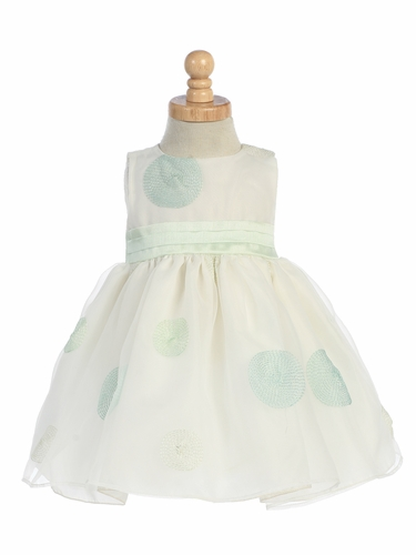Mint Green Embroidered Organza Polka Dot Dress w/Shantung Waistband