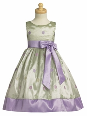 Mint Green/Lilac Embroidered Polka-Dot Taffeta Dress w/Bow