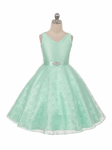 Mint Lace Contrast Satin Sleeveless Dress w/ Satin Sash & Brooch