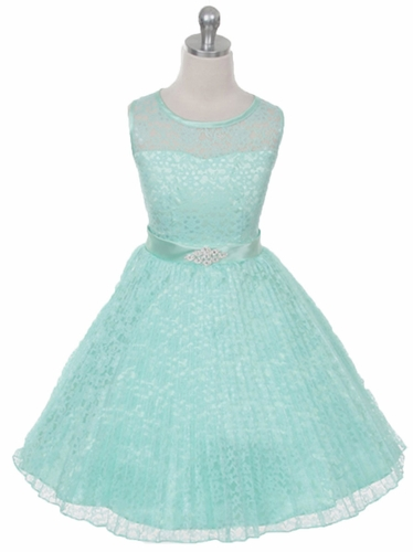 Mint Lace Sunburst Dress