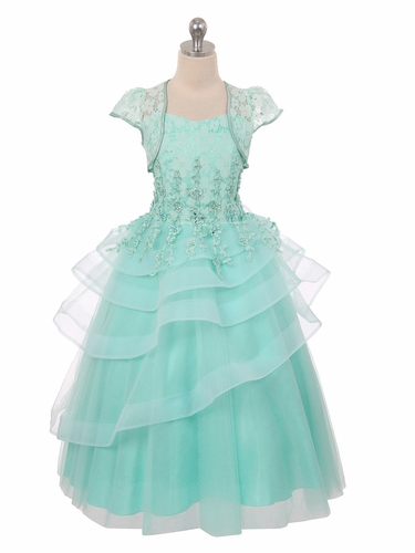 Mint Lace Tiered Dress w/ Bolero