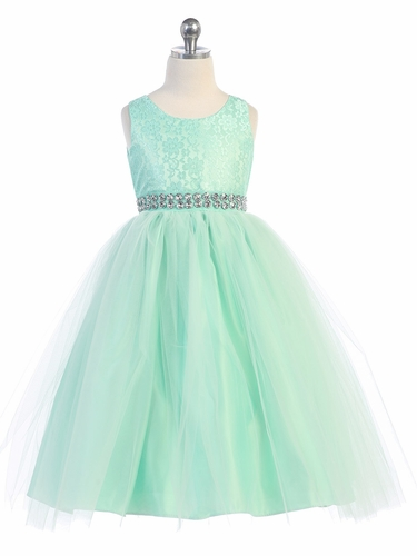 Mint Lace & Tulle Dress w/ Rhinestone Belt