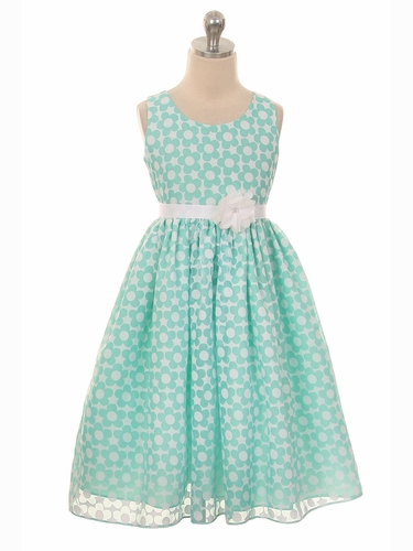 Mint Organza Burnout Floral Dress