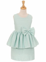 Mint Peplum Dress w/ Bow