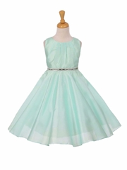 Mint Pleated Satin Scoop Neck Dress w/ Rhinestone Belt