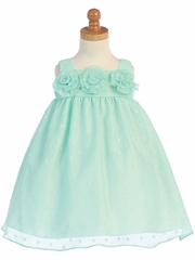 Mint Polka Dot Burnout Babydoll Organza Dress