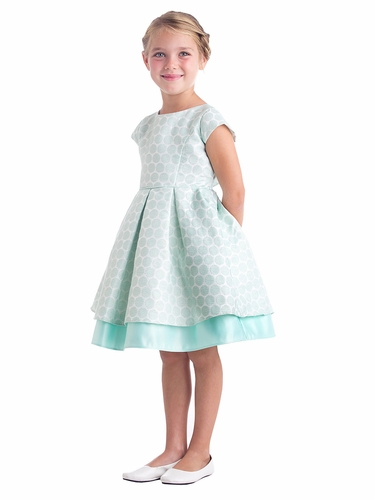 Mint Polka Dot Pleated Jacquard Dress