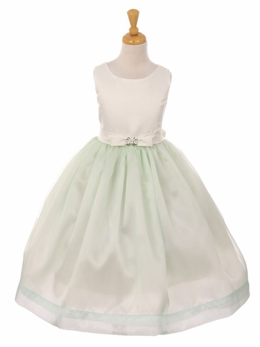 Mint Satin & Flare Organza Bow Dress