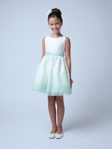 Mint Sequin Mesh w/ Scoop Back Dress