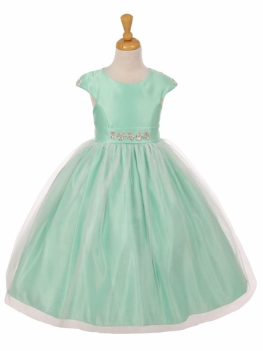 Mint Shiny Tulle Dull Satin Rhinestone Dress