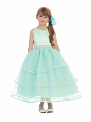 Mint Special Organza Tea Length Dress w/ Pearly Band