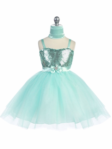 Mint Sweet Heart Sequin Bodice w/ Crystal Tulle Skirt