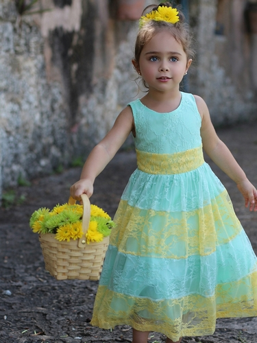 Mint & Yellow Lace Color Block Dress