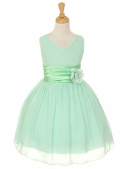 CLEARANCE - Mint Yoryu Chiffon Double V-Neck Dress