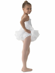CLEARANCE - Mirella White Ruffled Cami Tutu Leotard