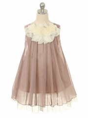 CLEARANCE - Mocha Chiffon Dress w/ Ivory Flower Neckline