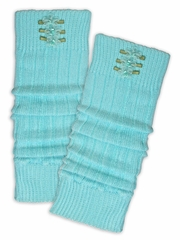 "Mondor Blue Taffy 14"" 3 Flower Legwarmers"