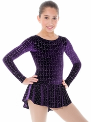 CLEARANCE - Mondor Labyrinthe Print Born To Skate Glitter Velvet Dress