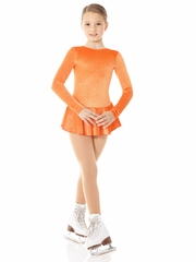 Mondor Orange Glitter Velvet Long Sleeve Dress