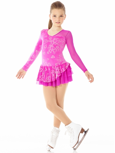 Mondor Pink Mesh Sleeve Fantasy On Ice Dress