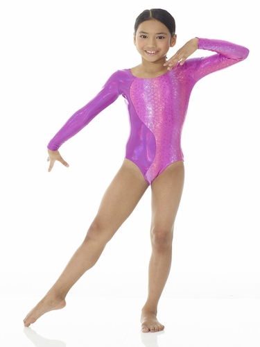 Mondor Plain & Printed Metallic Pink Planet Leotard