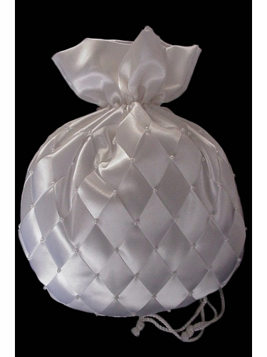 Money Bag w/ White Organza Criss Cross Pattern
