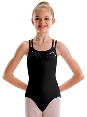 Motionwear Black 4-Strap Bow Back Rhinestone Leotard