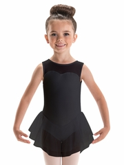 Motionwear Black Sweetheart Tank Double Skirted Leotard