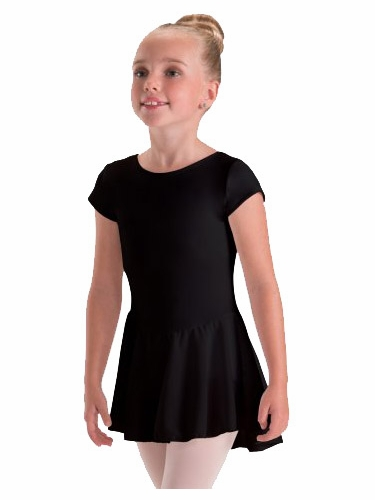Motionwear Black Cap Sleeve Sheer Skirted Leotard
