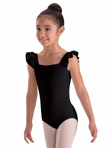 Motionwear Black Double Ruffle Bandeau Leotard