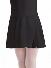 Motionwear Black Pull-On Wrap Crepe Skirt