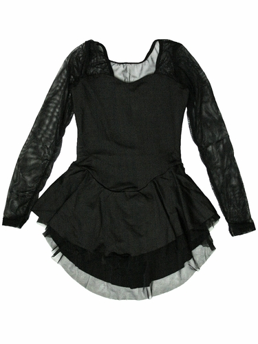 Motionwear Black Silkskyn w/ Black Mesh Sweetheart Long Sleeve 2 Layer Skate Dress